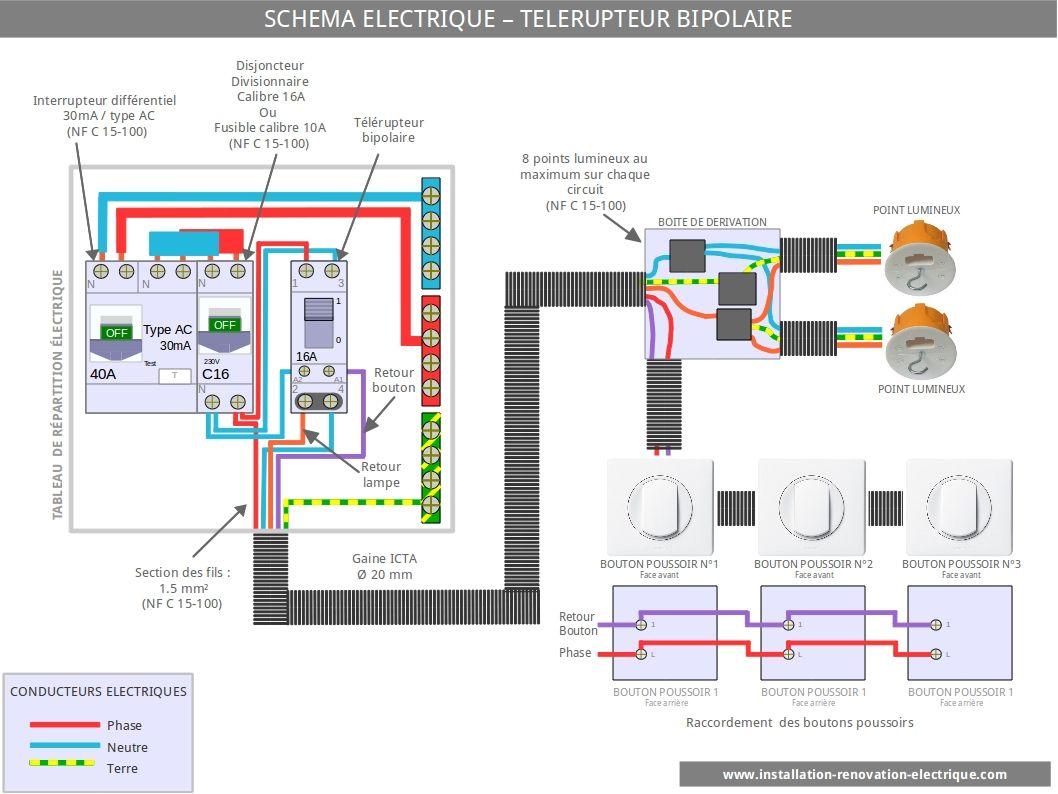 O diagrama de fia o do rel de travamento bipolar electricit plan electrique va et vient mon e du - Branchement va et vient ...