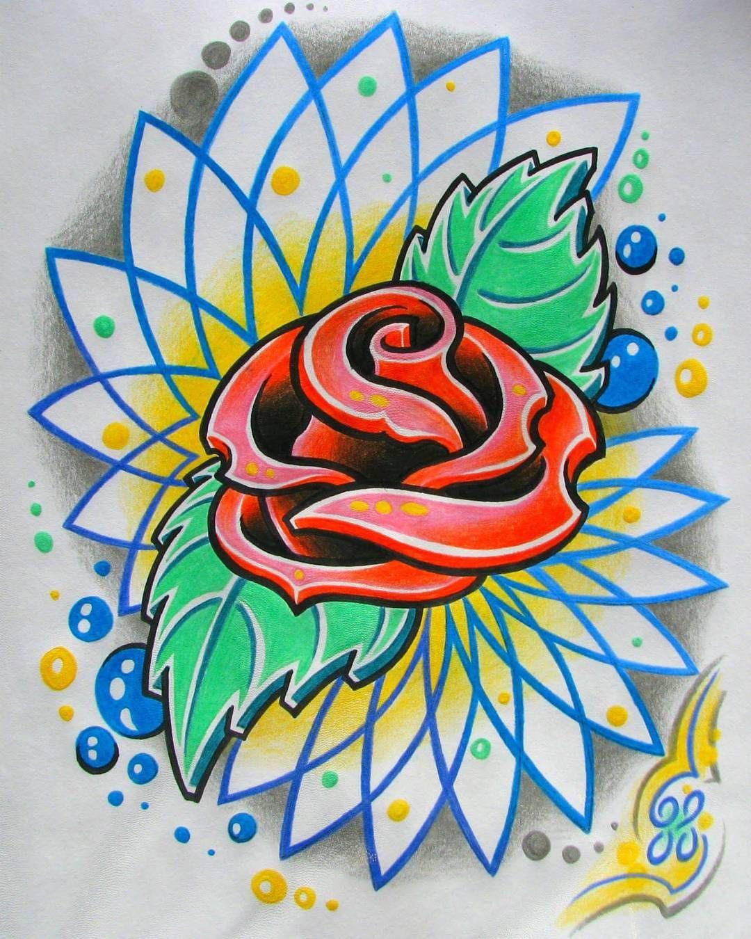 New school rose tattoo Art tattoo, Art, Flower drawing