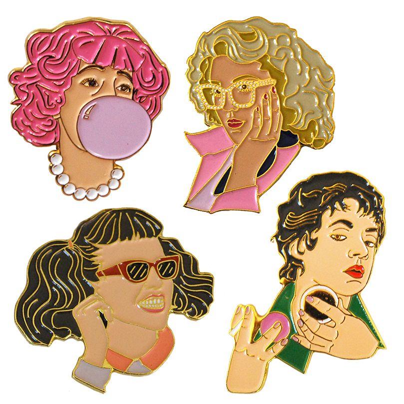 eab23c7db All+four+Pink+Ladies+as+Soft+Enamel+Pins .+Measure+1.5-1.75