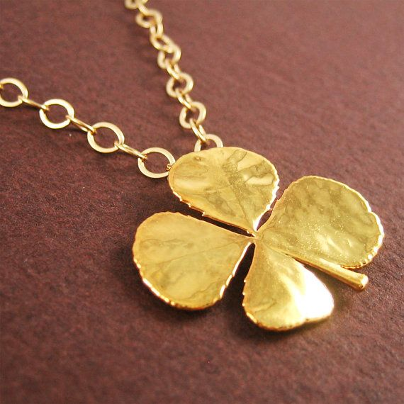 Gold 4 Leaf Clover Necklace Good Luck Charm by DistinQueJewelry, $60.99