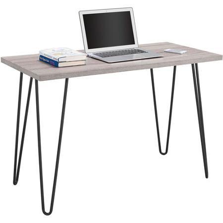 Mainstays Retro Computer Desk Distressed Gray Oak Walmart Com Retro Desk Retro Writing Desk Grey Desk