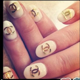 Chanel Nail Art Stickers Gold White