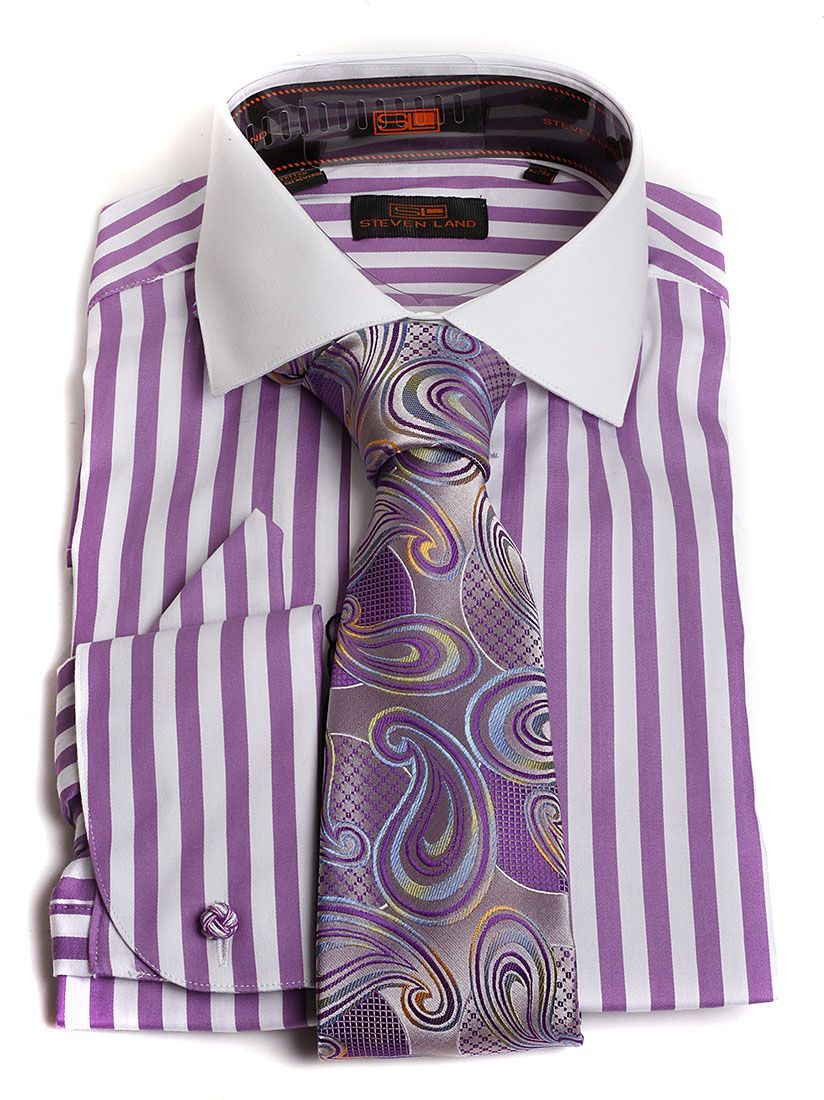 24f6ae09e Steven Land Men's Lavender Stripe French Cuff Dress Shirt & Paisley Tie  Combo