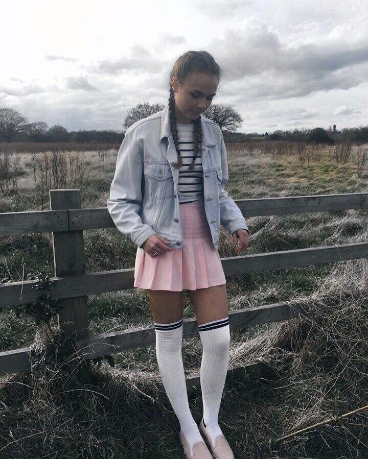 Tennis Skirt Pink Tennis Skirt Knee High Socks Thigh High Socks Denim Jacket Wrangler Levi S O Mighty Mothers Costume Pretty Outfits Tennis Skirt
