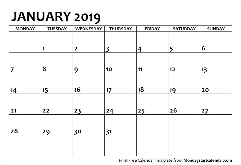 January 2019 Calendar Starting On Monday January 2019 Printable Calendar Template | Monday Start in 2019