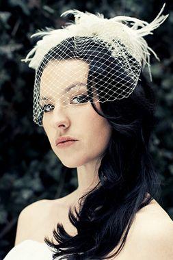 bird cage veil (and doesn't she look like anne boleyn from the tudors?!)