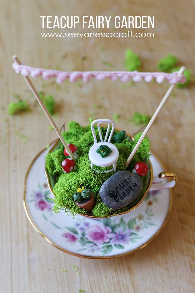 Tea Cup Fairy Garden Tutorial — Crafthubs | Felt- Needle ...