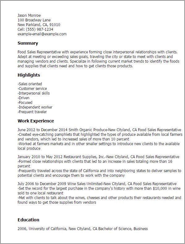 Resume Templates Food Sales Representative Sample Resume Medical Sales Resume Sales Resume Examples