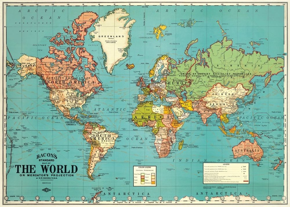 World Map Vintage Style Poster Cavallini Co 20 X 28 Wrap Art