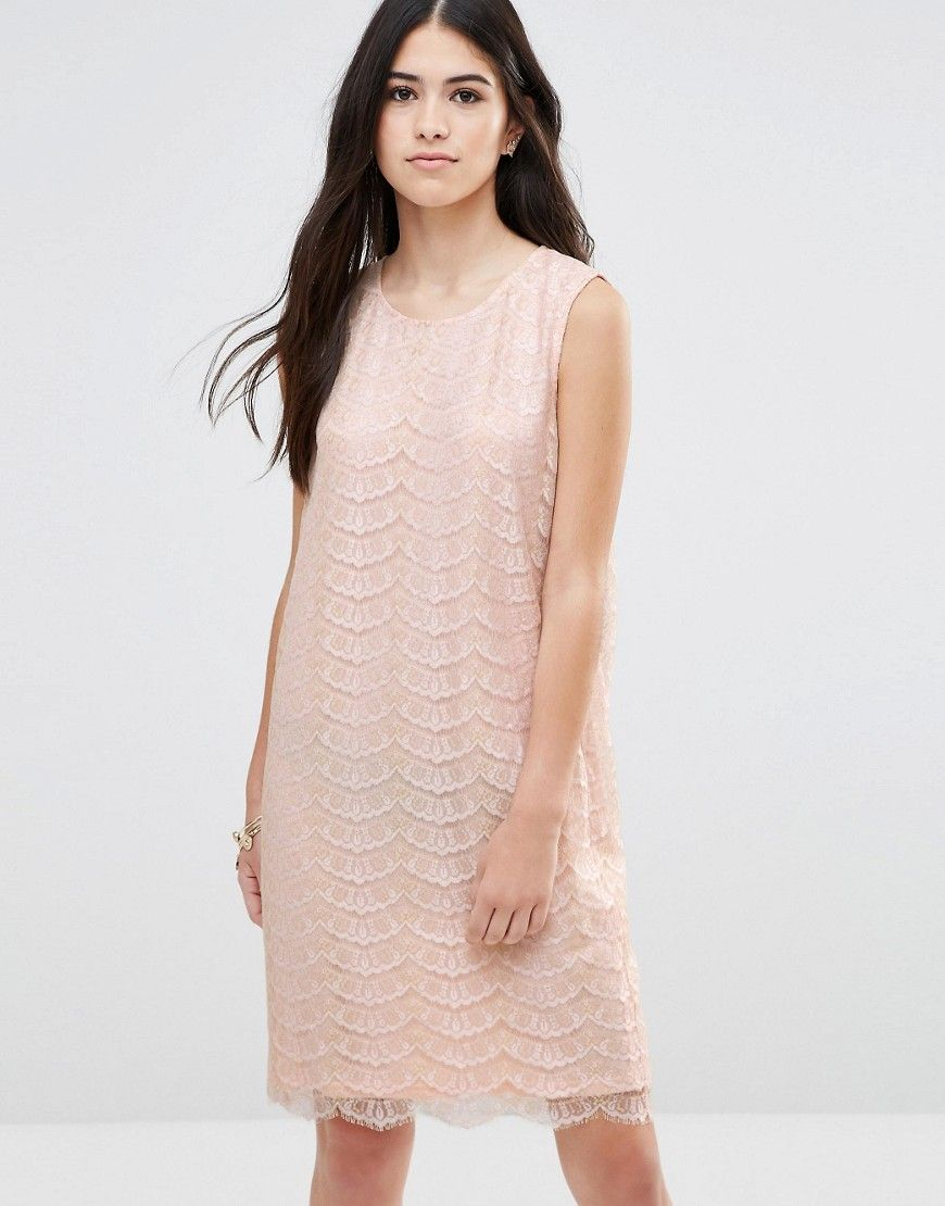 Traffic People Shift Dress In Metallic Lace With Keyhole Back  Pink
