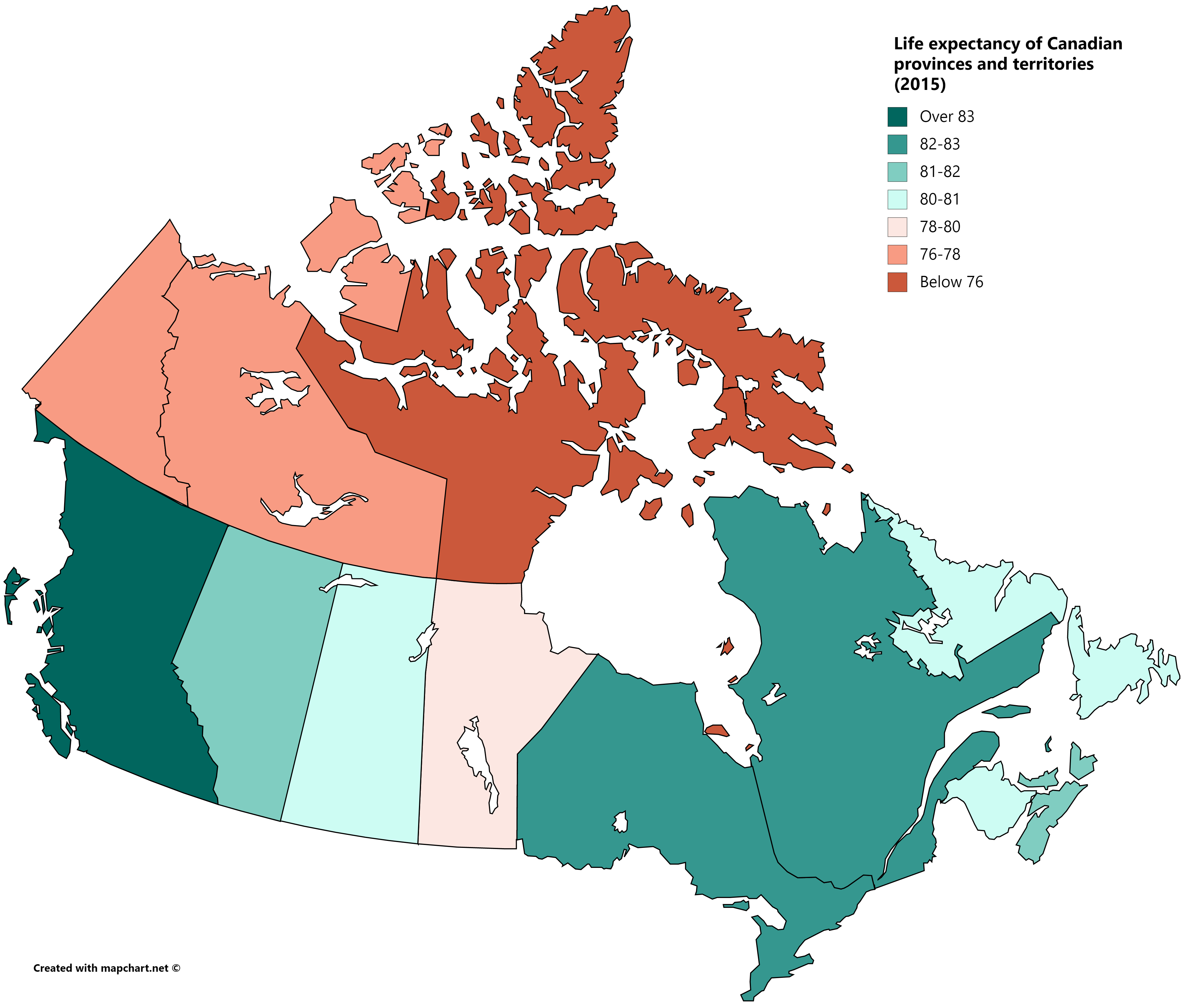 Life Expectancy Of Canadian Provinces And Territories 2015 Canadian Provinces Life Canadian