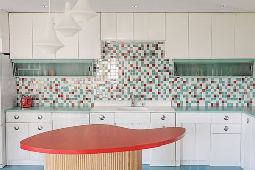 Baby Boomers Create Their Retirement Dream House A Colorful Retro Remodel 25 Photos Renovation Metal Kitchen Cabinetskitchen