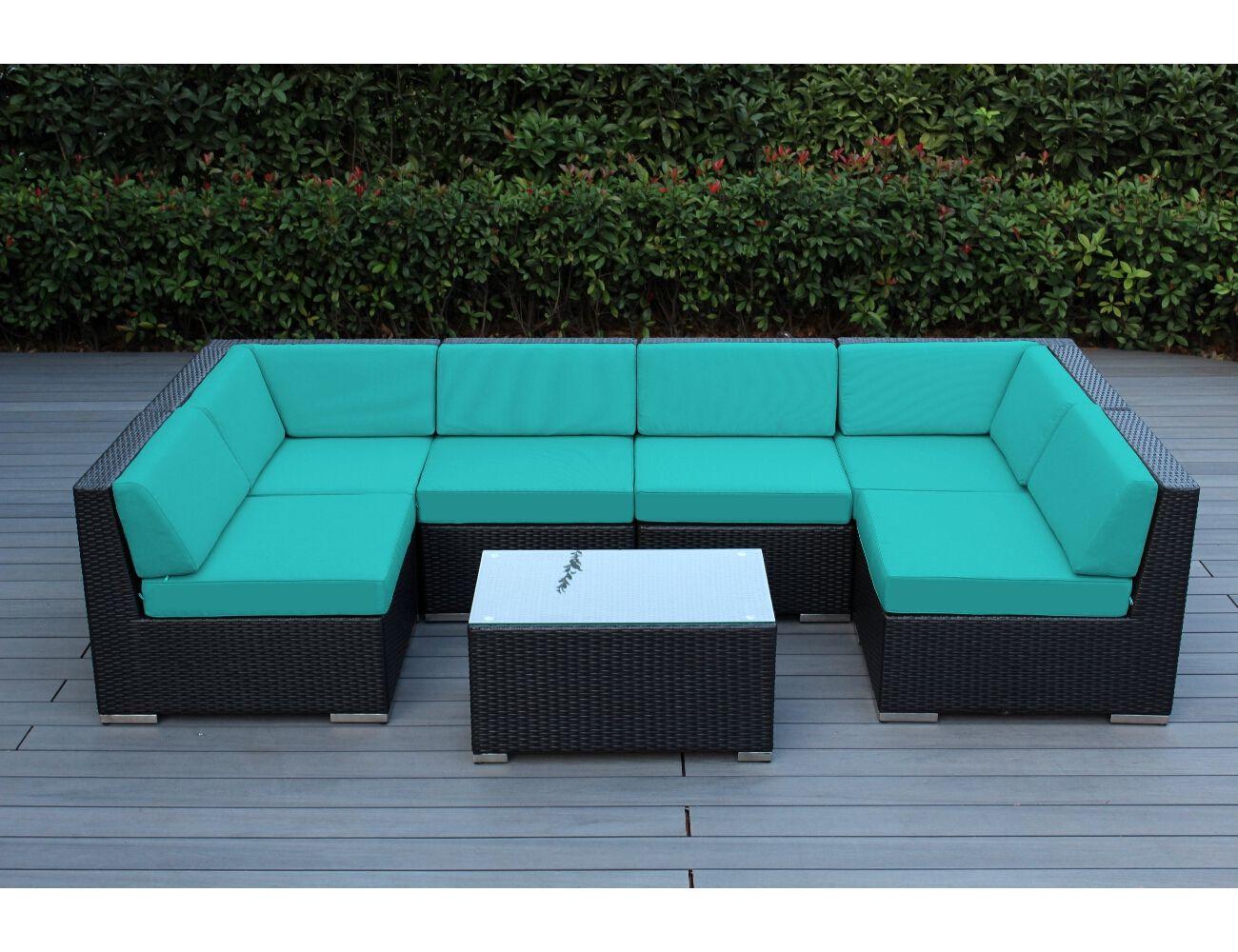 Colorful wicker patio furniture - Sunbrella Aruba With Black Wicker Ohana Wicker Furniture Outdoor Patio Furniture Sets