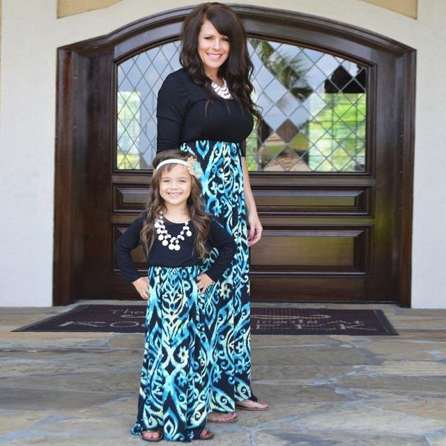 Floral Printed Mom Daughter Dress Family Matching Mother Daughter Dress  Clothes Spring Fall Women Girl Dress - Floral Printed Mom Daughter Dress Family Matching Mother Daughter