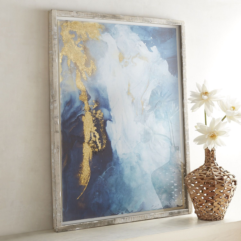 Gold & Indigo Framed Art Blue
