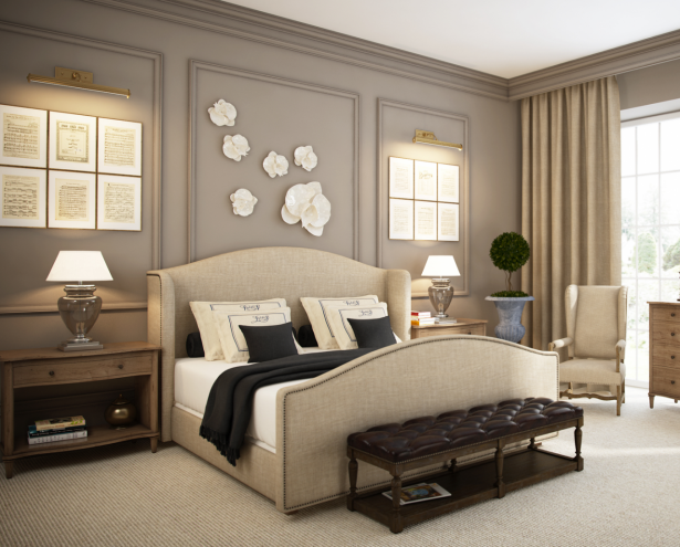 Exciting Beige Linen Upholstered King Bed With Black Tufted Leather Bed  Bench Also White Shades And