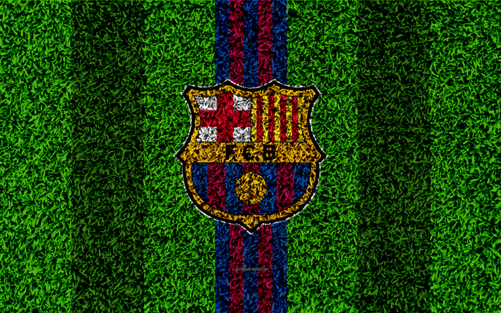 Download wallpapers FC Barcelona, 4k, logo, football lawn, Spanish football club, blue maroon lines, grass texture, emblem, Barcelona, Catalonia, Spain, football