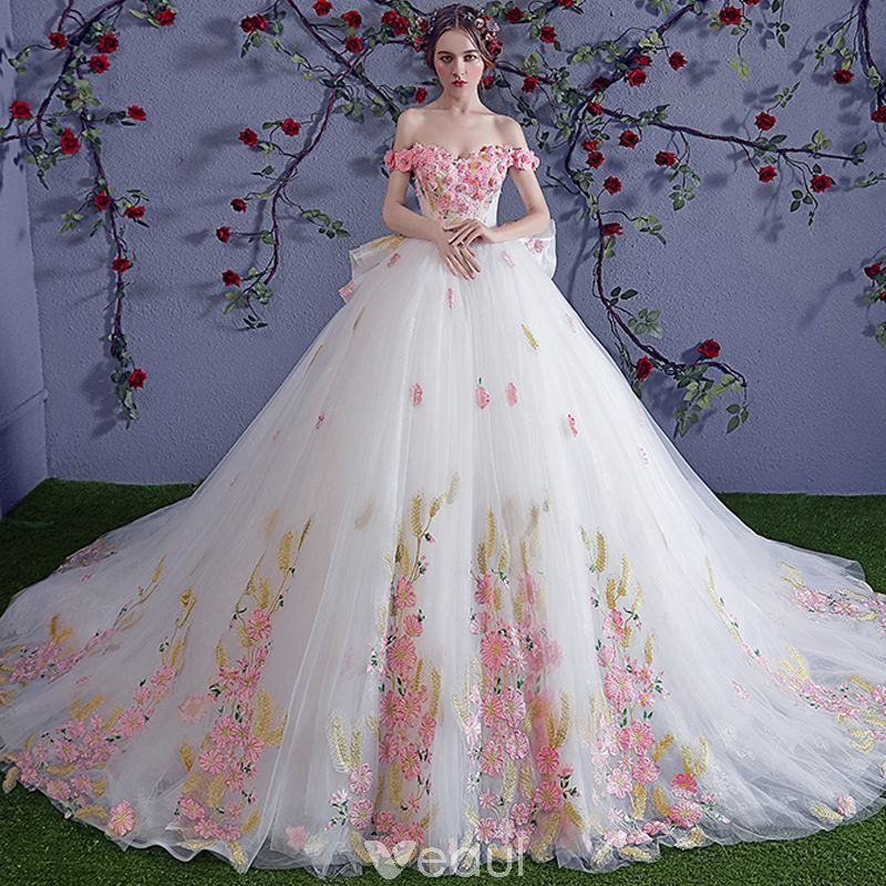 Chic Beautiful Multi Colors Wedding Dresses 2018 Ball Gown Appliques Crystal Off The Shoulder Backless Sleeveless Royal Train Wedding Colored Wedding Dresses Ball Gown Wedding Dress Multicolor Wedding
