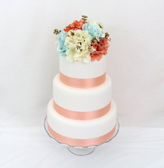 Silk Flower Wedding Cake Toppers: Coral, Ivory Hydrangea Silk