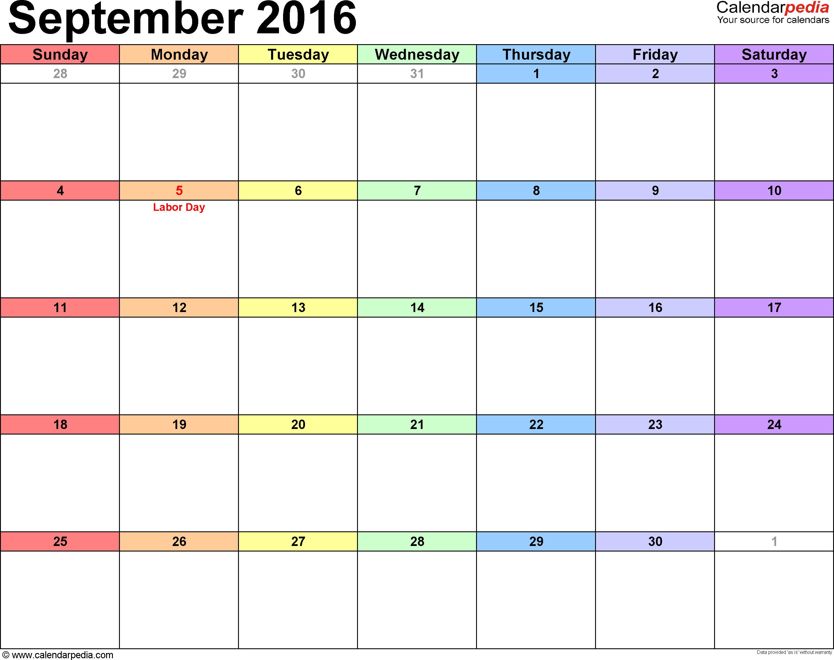 September  Calendars For Word Excel  Pdf  Diy And Crafts