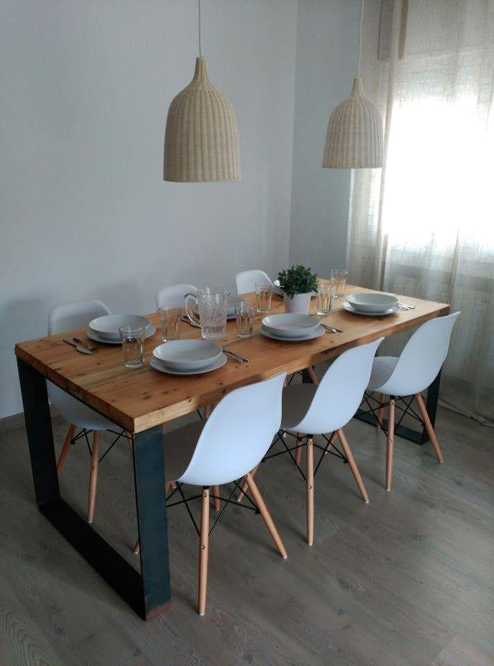 Mesa comedor industrial madera y hierro 1 60x80x76 pelikan Mesas industriales vintage