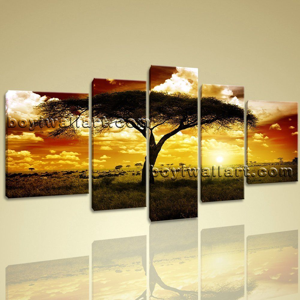 Xxl Large Canvas Wall Art Print Savannah Sunset Landscape Africa ...