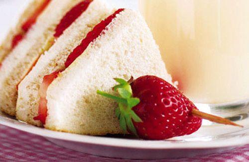 Strawberry cream cheese tea sandwiches