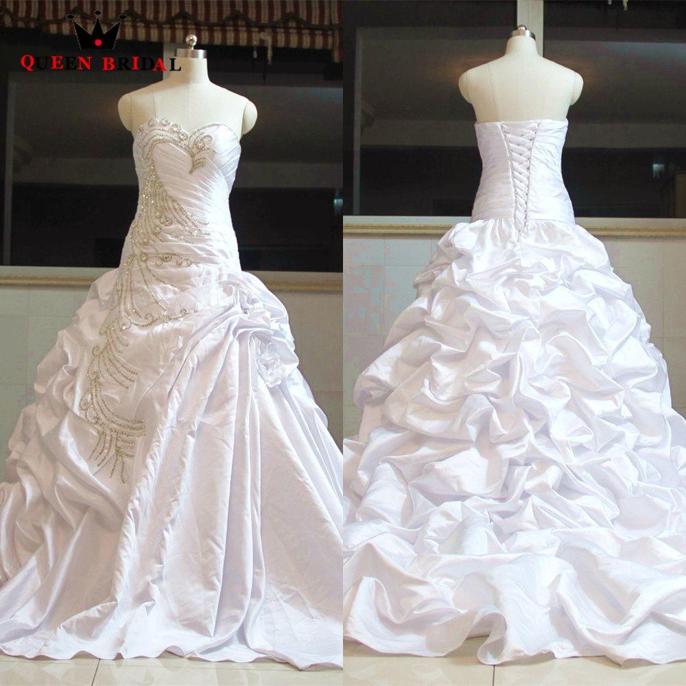 Custom made real ball gown long train satin ruffle taffeta crystal