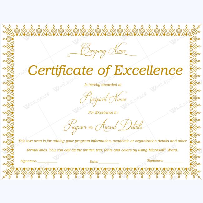 Certificate Of Excellence 06 Certificate Of Excellence Templates