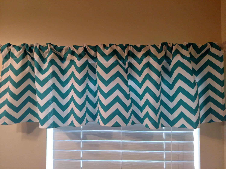 Designer Window Valances turquoise and white chevron stripes valance curtain . designer