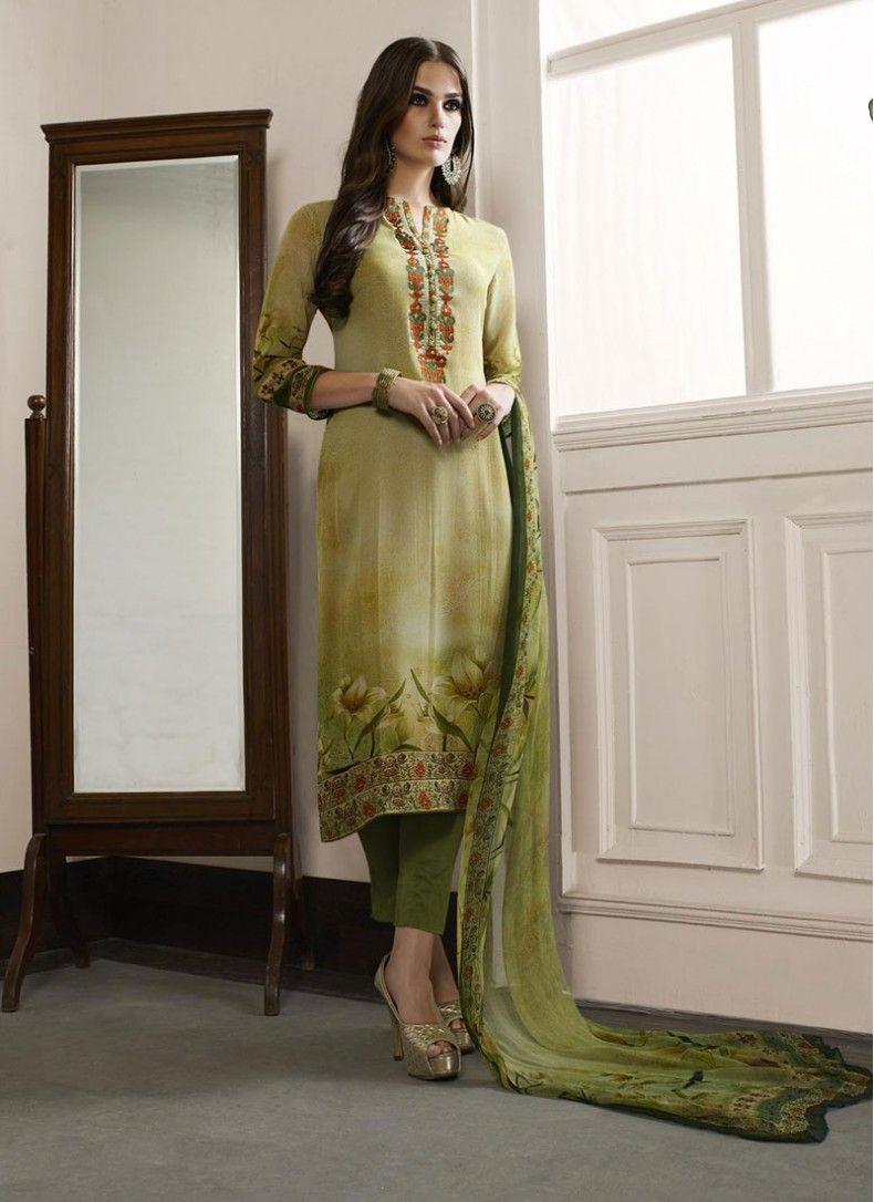 2132f10d6d Faux Georgette Floral Print Green Churidar Salwar Suit | Indian ...