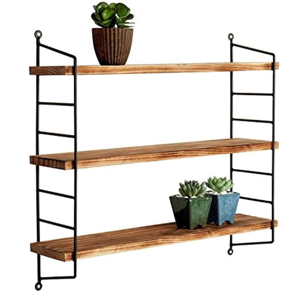 mygift modern industrial metal torched wood adjustable on wall shelf id=58409