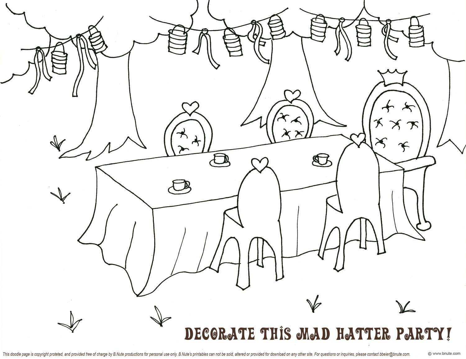 Mad Hatter Tea Party Doodle Page Have A Coloring Table While They Are Waiting Mad Hatter Tea Mad Hatter Tea Party Fathers Day Coloring Page