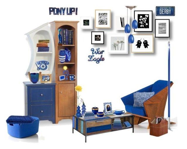 """Royal Blue"" by marionmeyer on Polyvore featuring interior, interiors, interior design, Zuhause, home decor, interior decorating, Vitra, ELK Lighting, Dainolite und Sounds Like Home"