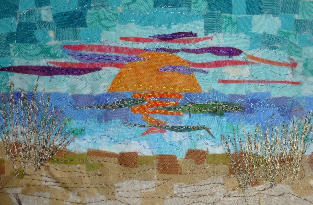 Sunset 4x6 Mini Mosaic Quilt On 8x10 Mat Sold Carol T Quilts