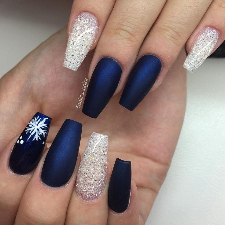 Matte Midnight Blue + Diamond Glitter + Snowflakes Long Coffin Nails ...