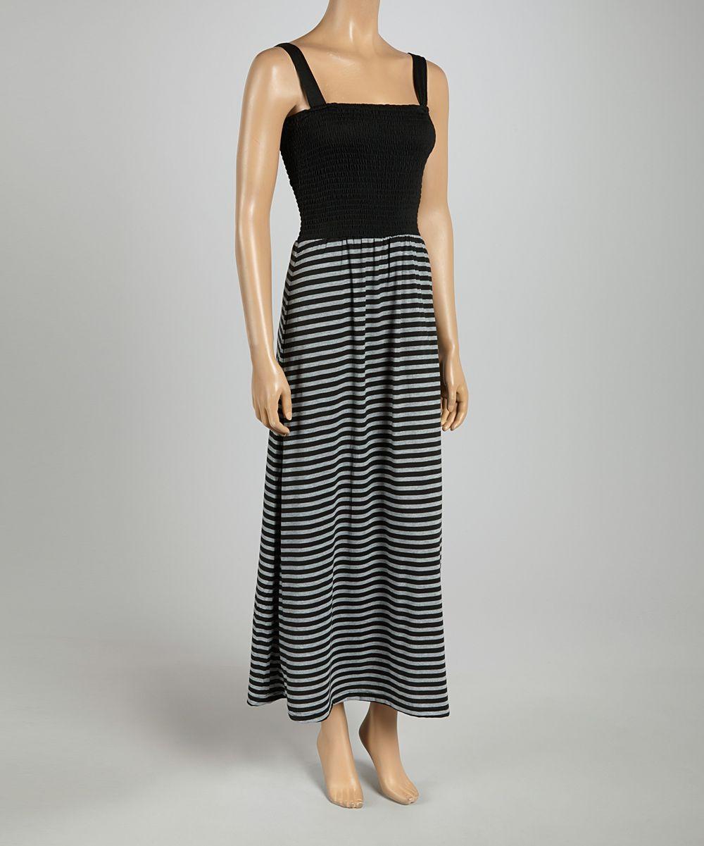 Black gray smocked stripe maxi dress striped maxi