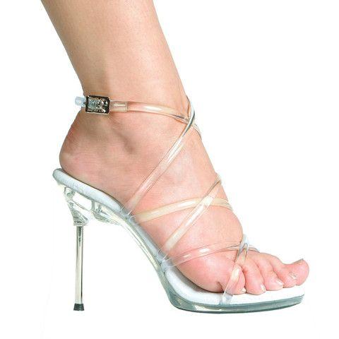 "4.5"" Metallic Heel Strappy Sandal."