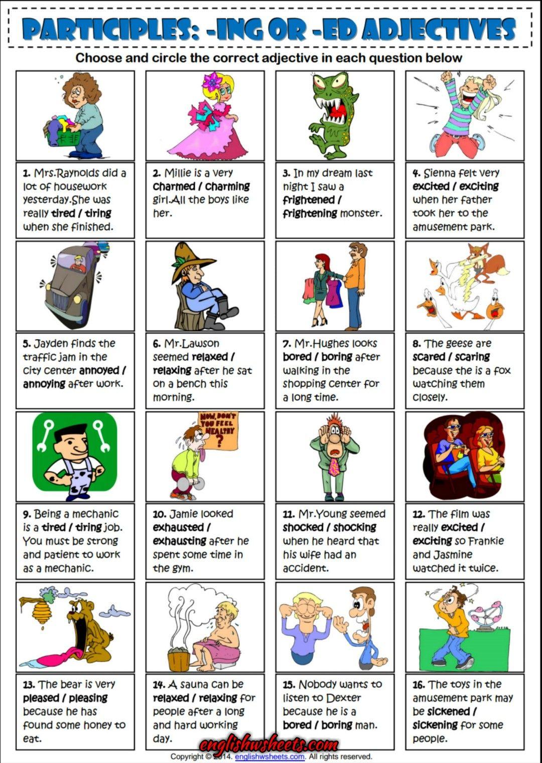 Participles -Ing Or -Ed Adjectives ESL Exercise Worksheet | Esl ...