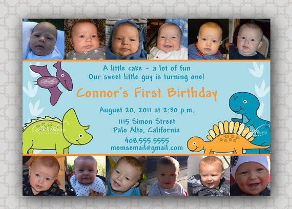 First Birthday Invitation Collage  photos  by SwishPrintables, $15.00