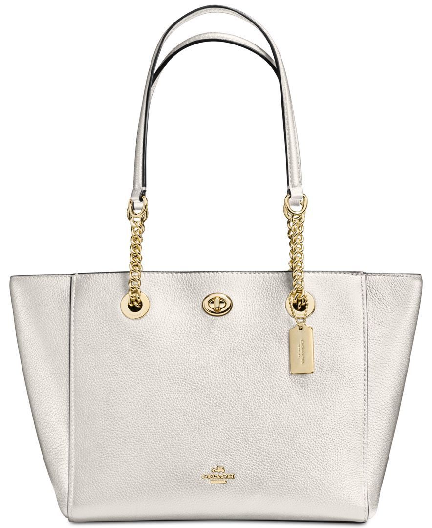903c1a9ca122 Coach Turnlock Chain Tote 27 in Polished Pebble Leather