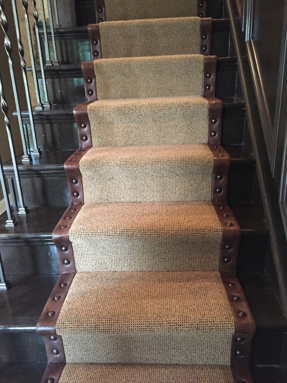 Looped Wool Stair Runner With Leather Wide Binding Upholstery