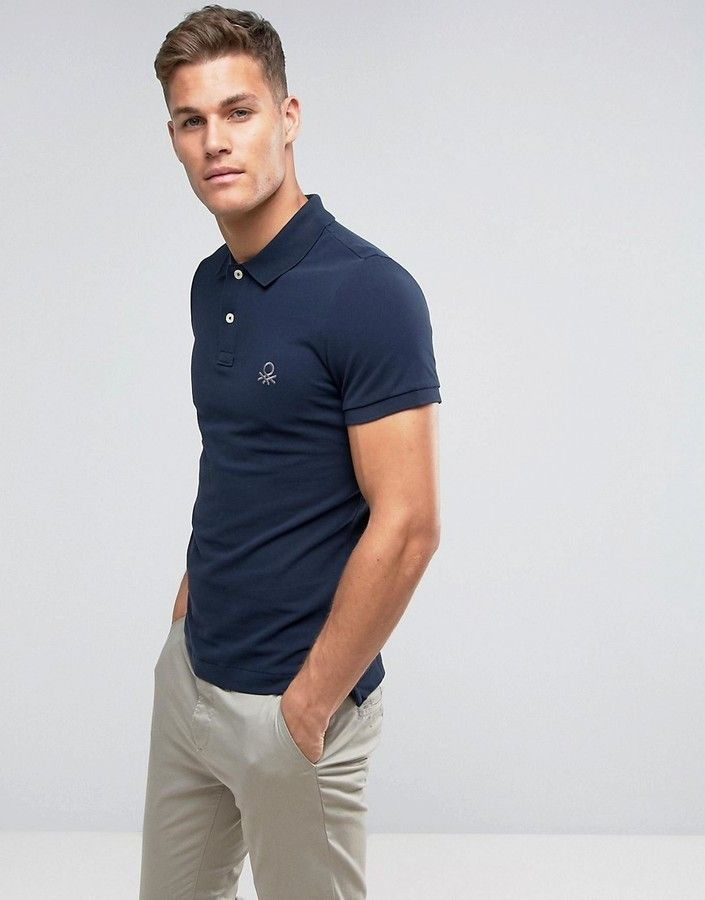 b8825b1b62 Benetton Muscle Fit Polo Shirt In Navy | Products | Polo, Polo shirt ...