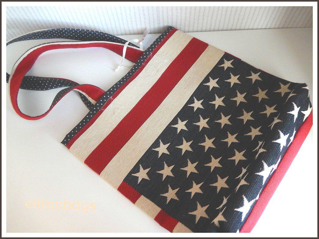 Borsa bandiera americana di stoffa handmade☆ | Bandiera ...