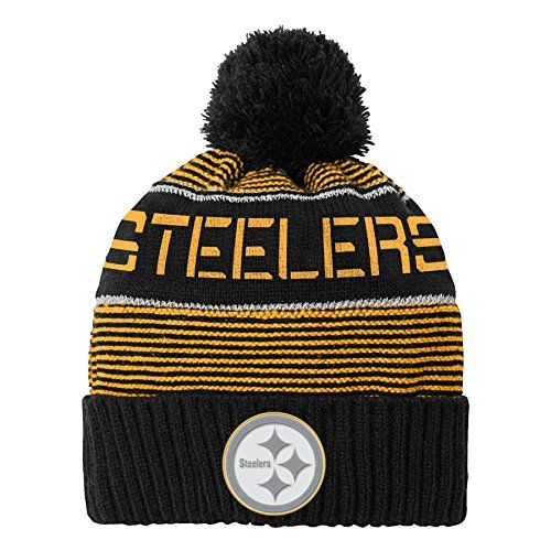 8938413b28a NFL Youth Pittsburgh Steelers Magna Reflective Cuffed Knit Hat with Pom