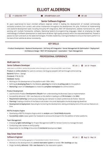 Senior Software Engineer Resume Sample Resume  CV Pinterest