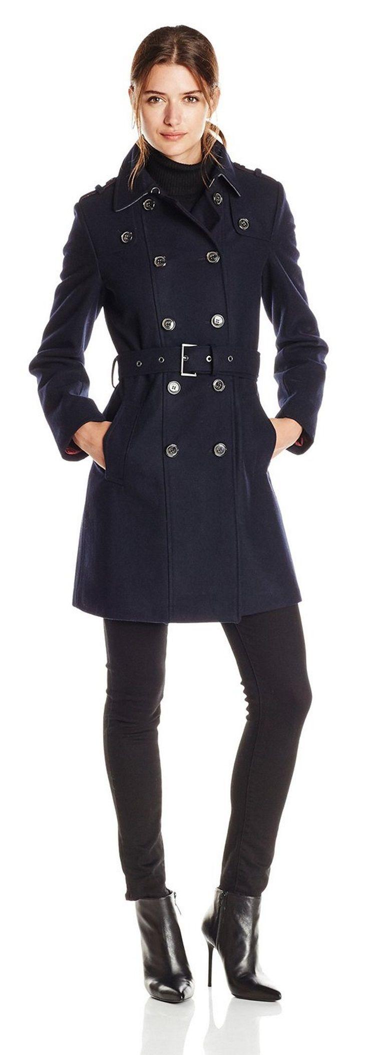 Tommy Hilfiger Double Breasted Classic Wool Coat Waterproof Jacket Women Coats For Women Raincoats For Women [ 2104 x 735 Pixel ]