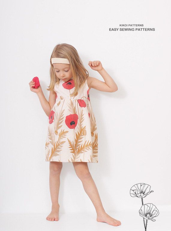 Poppy DRESS pattern - Vintage style - pdf sewing pattern for girls - 9 months to 7 years