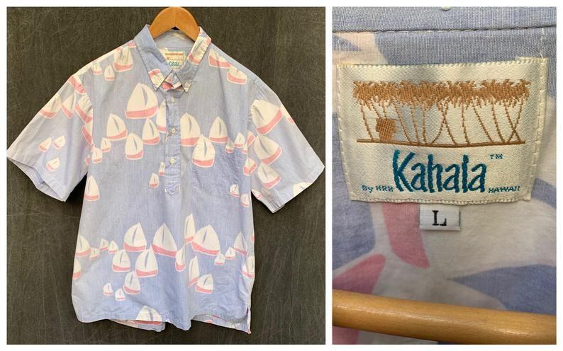 80s kahala hawaiian shirt pullover sailboat preppy boat
