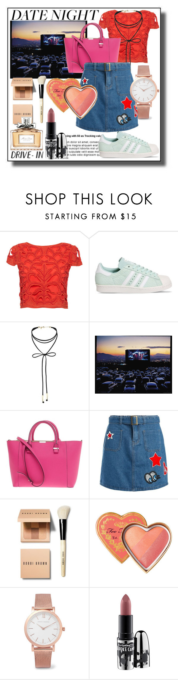 """""""summer date: date night drive in"""" by vikapranika ❤ liked on Polyvore featuring Alice + Olivia, adidas, Miss Selfridge, Victoria Beckham, Sans Souci, Bobbi Brown Cosmetics, Larsson & Jennings, MAC Cosmetics and Christian Dior"""
